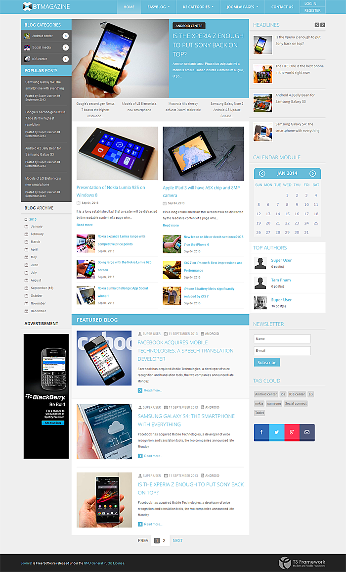 BowThemes Releases New Joomla Template Supporting EasyBlog ...