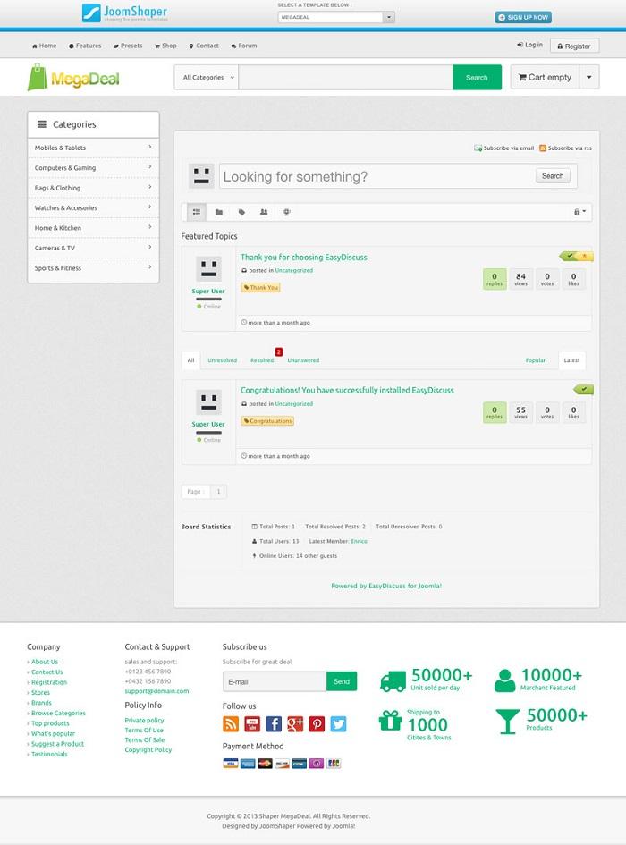 New e commerce template supports easydiscuss joomla blogs news new e commerce template supports easydiscuss maxwellsz